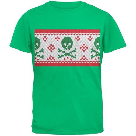Knit Skull And Crossbones Ugly Sweater Green Youth T-Shirt Womens Old School Knit Hooded