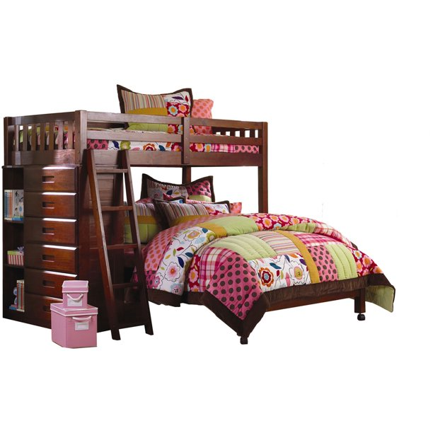 chandler twin over full l shaped bunk bed with bookshelves and storage
