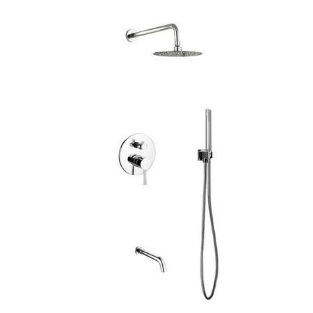 - Rebrilliant Bustillos Diverter Complete Shower System with 8 Inch Rain Shower, Handheld and Tub Filler - Includes Rough-In Valve