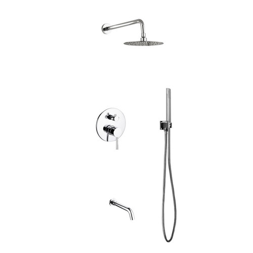 Bon Kube Bath Aqua Rondo Diverter Complete Shower System With 8 Inch Rain Shower,  Handheld And