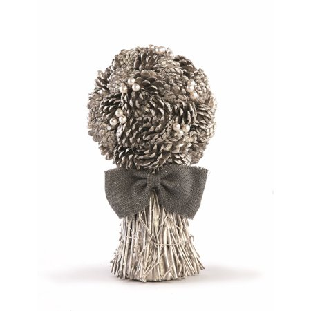 """13.5"""" Silent Luxury Vintage Pine Cone, Pearl and Burlap Artificial Christmas Floral Bouquet"""
