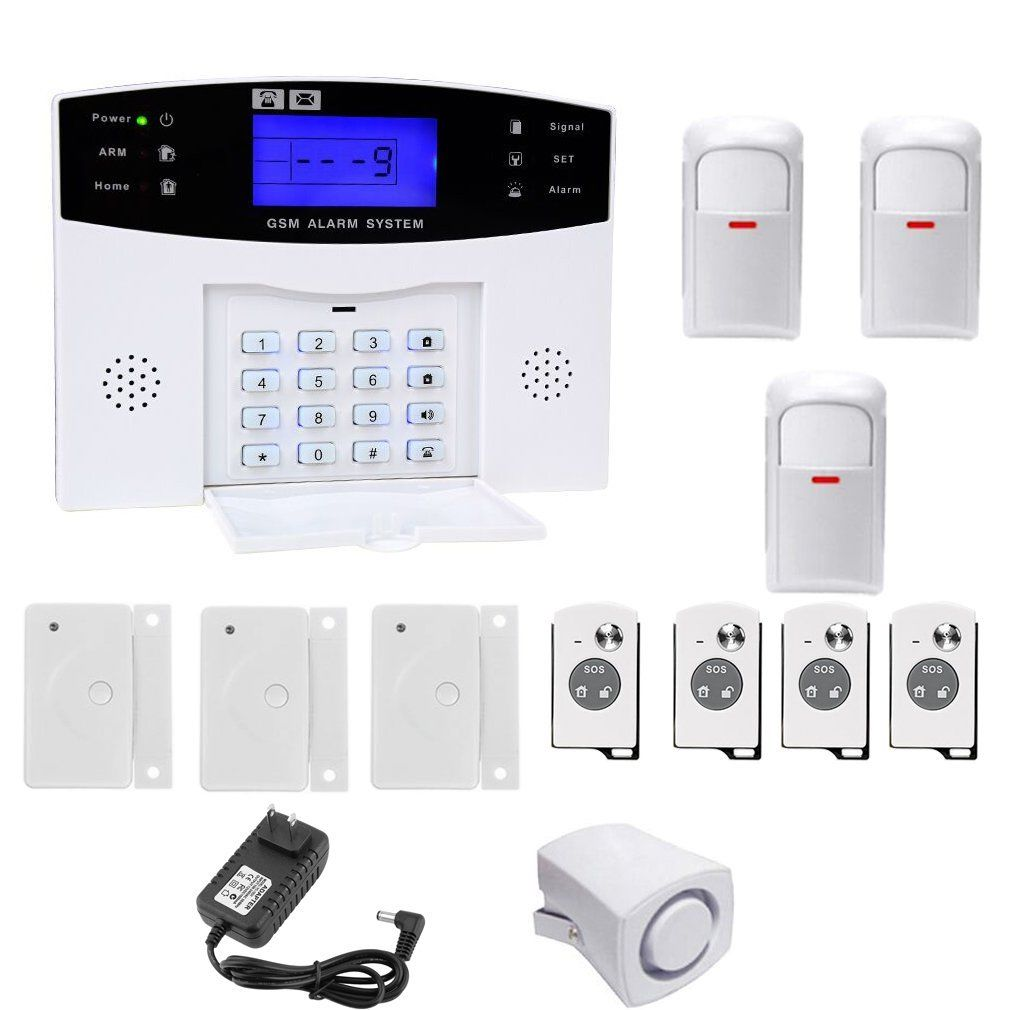 Wireless Home Security Alarm System Kit Intelligent LCD Display Voice Prompt House Business GSM Wireless Burglar Alarm Auto Dial Outdoor Siren