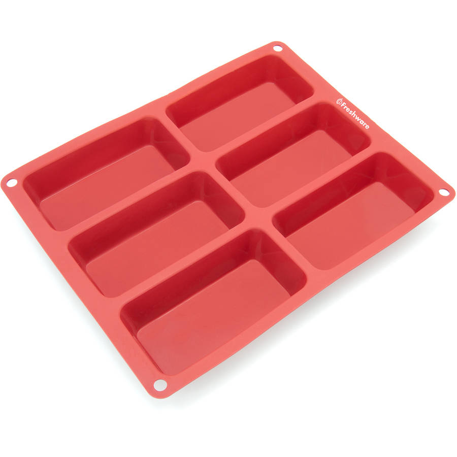 Freshware 6-Cavity Small Loaf Silicone Mold for Muffin, Soap, Cake, Brownie, Cornbread, Cheesecake and Pudding, CB-104RD
