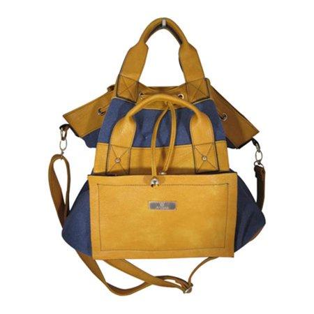 Aryana Adi 11 Bl Blue Yellow Double Adjustable Strap Zip Closure Womens Tote Bag