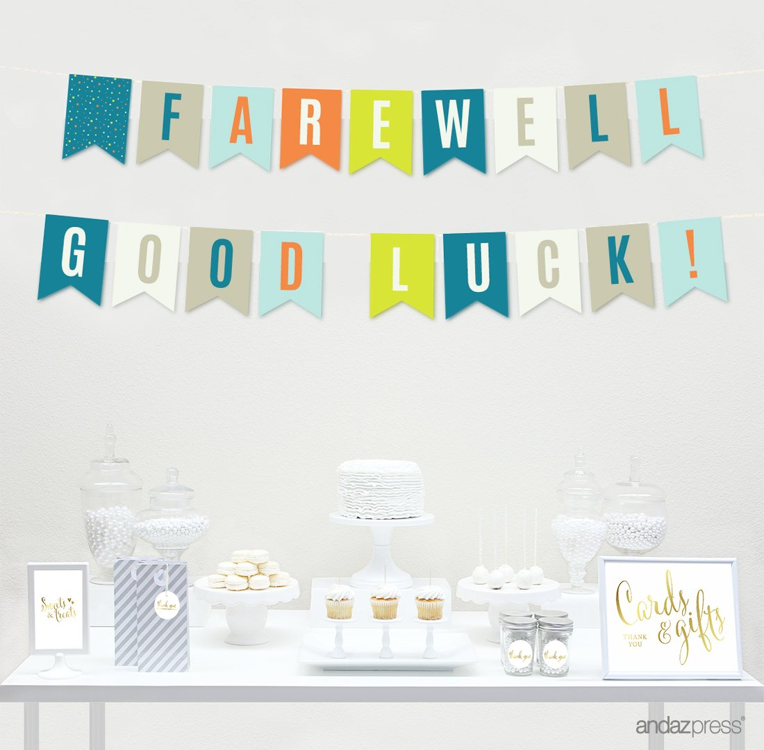 Farewell Retirement Party Decorations, Farewell! Good Luck!, Hanging Pennant Paper Banner with String, 5-Feet