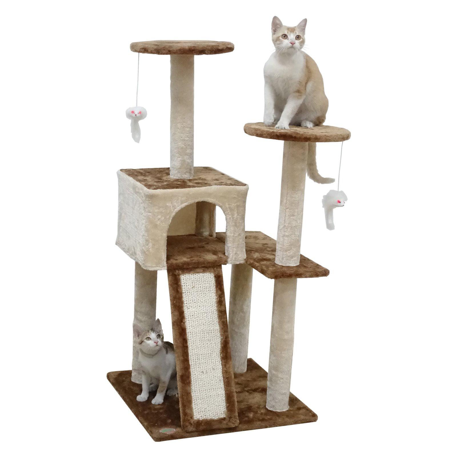 Go Pet Club 44 In Cat Tree Condo Scratching Post Tower Beige Brown Walmart Com Walmart Com