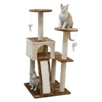 Go Pet Club 44-in Cat Tree & Condo Scratching Post Tower, Beige & Brown