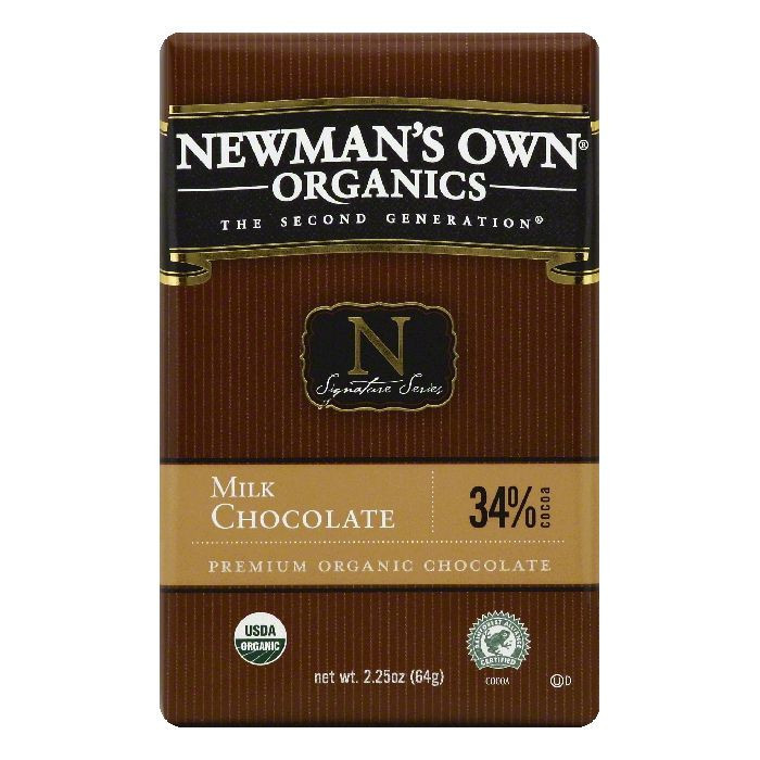 Newmans Own Organics 34% Cocoa Milk Chocolate, 2.25 OZ (Pack of 12)