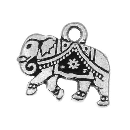 Pewter Elephant (Fine Silver Plated Pewter Indian Elephant Charm 12mm (1))