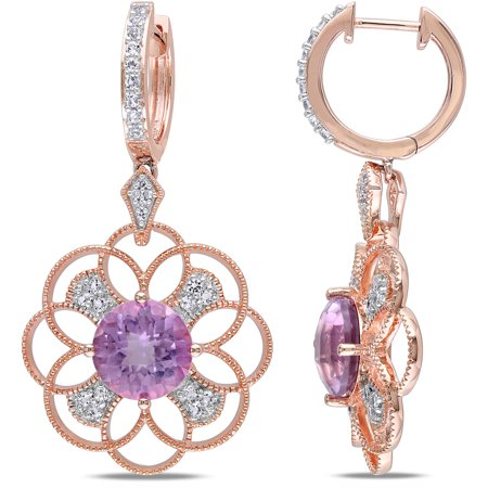 8-1/4 Carat T.G.W. Rose de France and White Topaz with Diamond-Accent Rose Rhodium-Plated Sterling Silver Multi-Circle Design Clip-Back Earrings