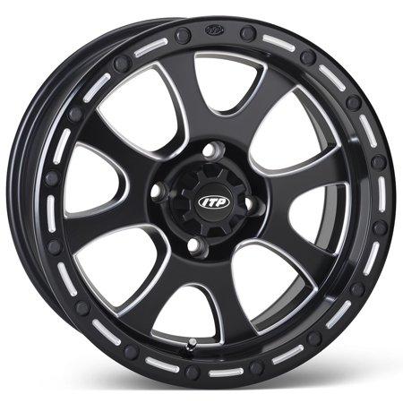 ITP Tsunami Milled/Black ATV Wheel Front/Rear 15x7 4/137 - (5+2) [15TS118] (Itp Wheels Atv)