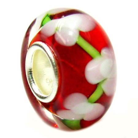 Sterling Silver Red Flower European Style Glass Bead Charm Fits