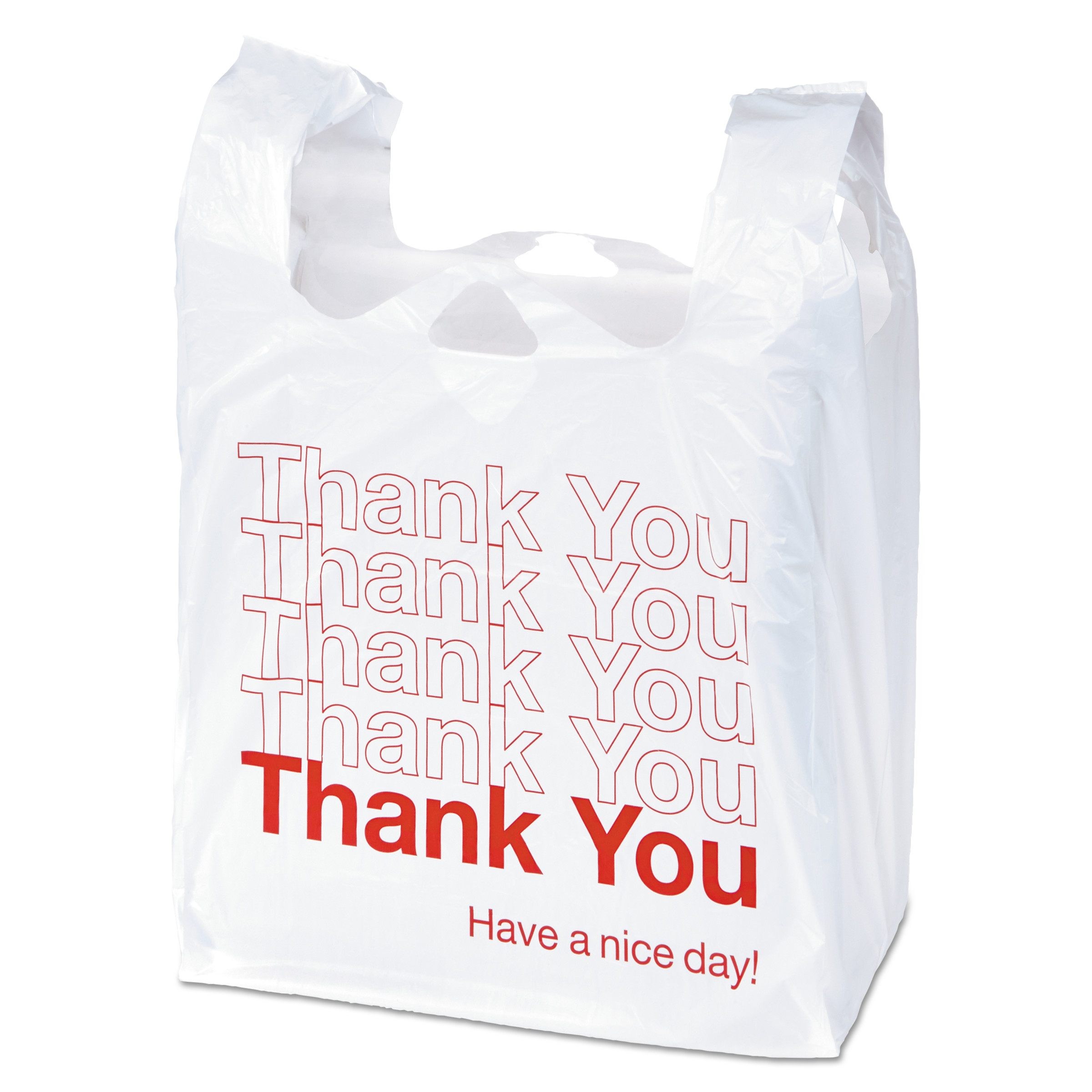 "Universal Plastic ""Thank You"" Shopping Bag, 11.5 x 3.15 x 22, 0.55 mil, White/Red, 250/BX -UNV63036"