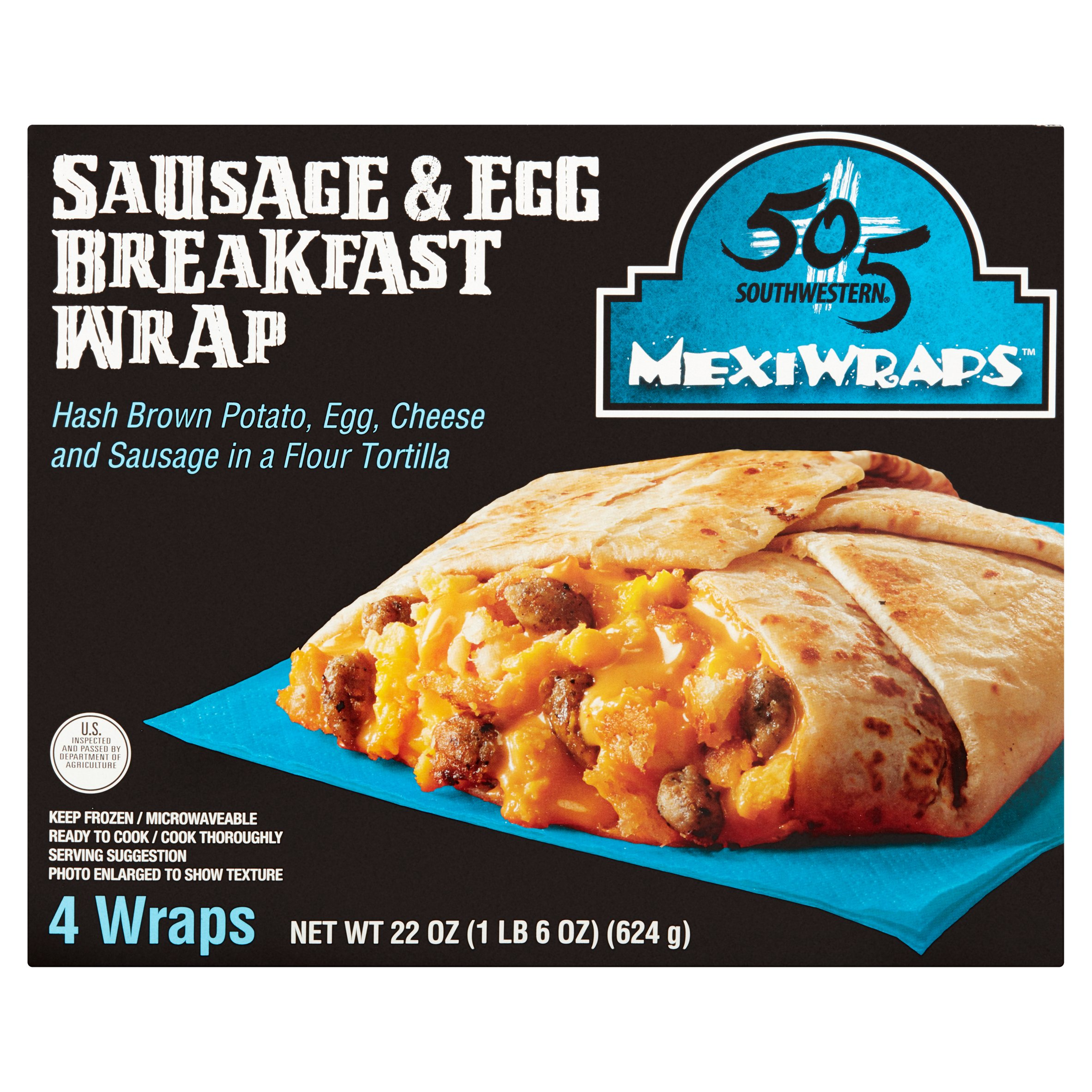 505 Southwestern MexiWraps Sausage & Egg Breakfast Wrap, 4 count, 22 oz