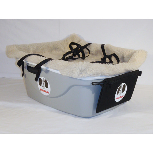 FidoRido Products FRG2BG-MM Gray Two-Seater with Beige Fleece and Two Medium Harnesses