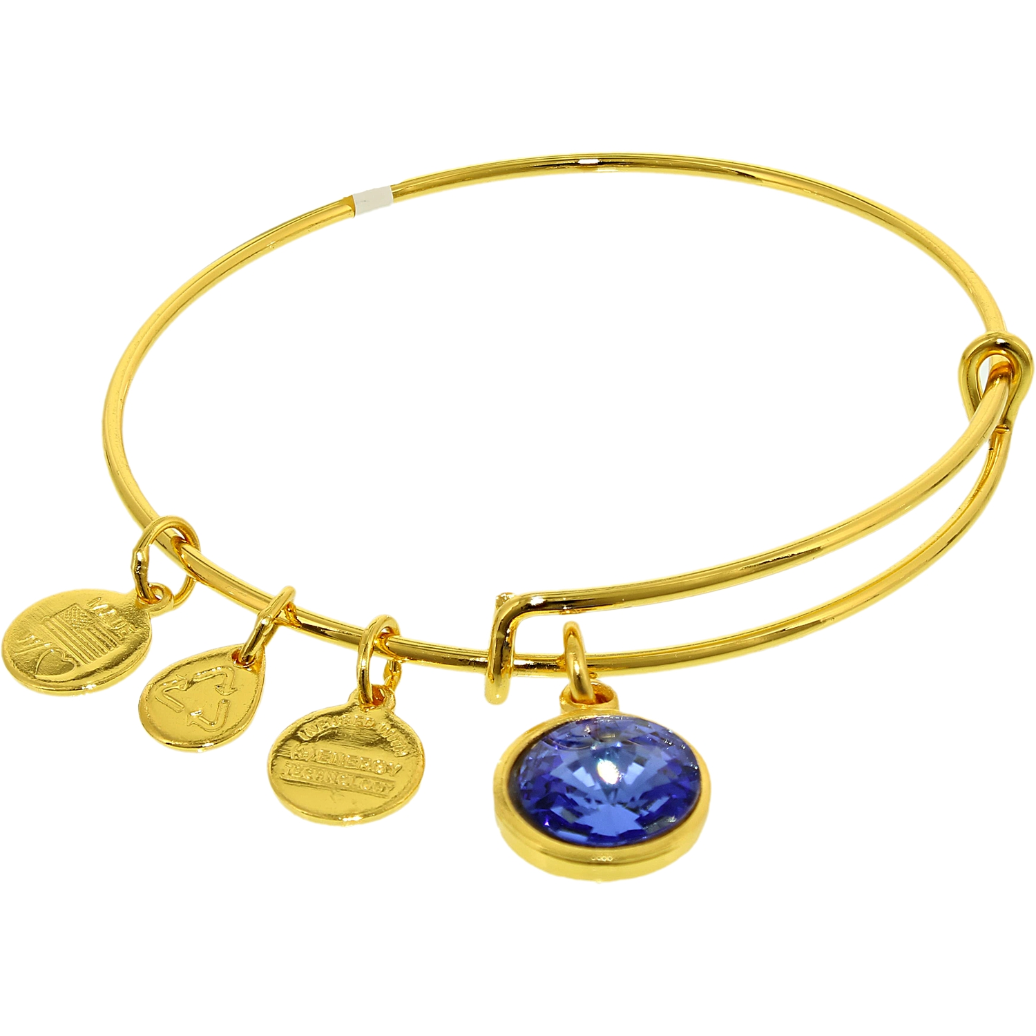Alex And Ani Women's Crystal Birthstone September Sapphire Yellow Gold Cubic-Zirconia Charm Bracelet by Alex And Ani