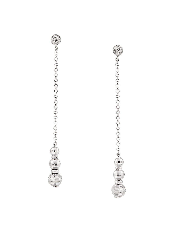 Sterling Silver & Diamond Drop Earrings