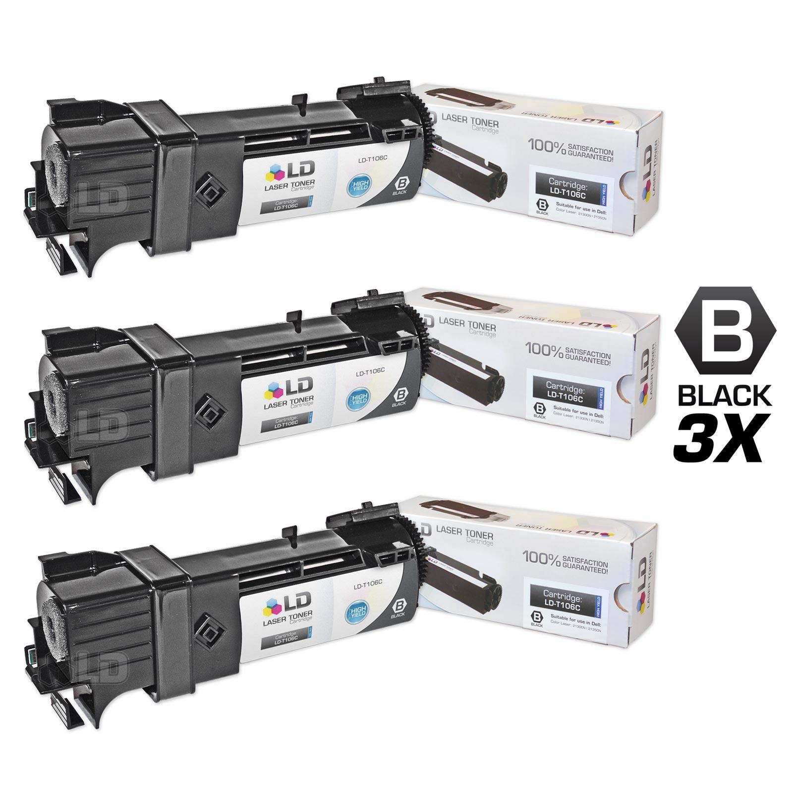 LD Compatible Dell 2135cn Set of 3 High-Yield Black Toner Cartridges (T106C / FM064) for Color Laser 2130cn