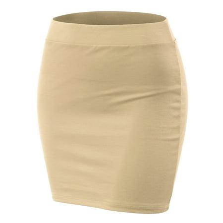 cbf7cd1f5c3 Doublju - Doublju Women s Basic Stetch Knit Bodycon Mini Skirt OYSTER 2XL  Plus Size - Walmart.com