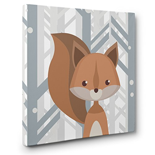 Woodland Creatures Squirrel Nursery Decor CANVAS Wall Art