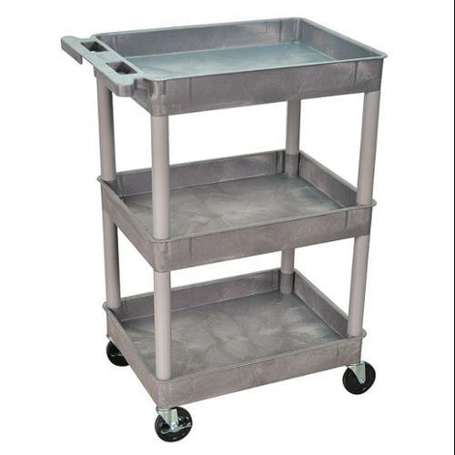 LUXOR STC111-G Utility Cart, 300 lb. Cap., PE, 3 Shelves
