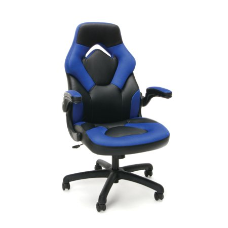 Racing Style Bonded Leather Gaming Chair Blue - OFM