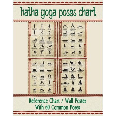 "Hatha Yoga Poses Chart: 60 Common Yoga Poses and Their Names - A Reference Guide to Yoga Asanas (Postures) -- 8.5 x 11"" Full-Color 4-Panel Pamphlet (Paperback)"