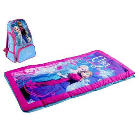 Disney Frozen Elsa and Anna Indoor Outdoor Kids Sleeping Bag and Backpack Set