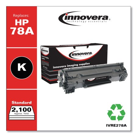 Innovera Remanufactured Black Toner Cartridge, Replacement for HP 78A (CE278A), 2,100 Page-Yield -IVRE278A