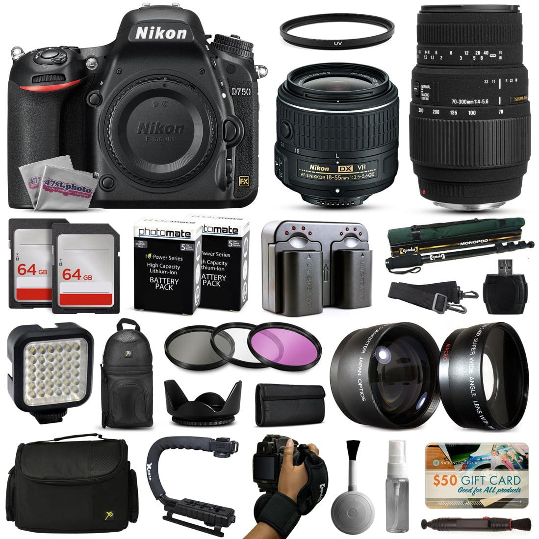 Nikon D750 DSLR Digital Camera with 18-55mm VR II + Sigma 70-300mm Lens + 128GB Memory + 2 Batteries + Charger... by Nikon