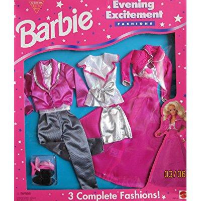 evening excitement fashions - 3 outfits for barbie & ken (1995 arcotoys, mattel)
