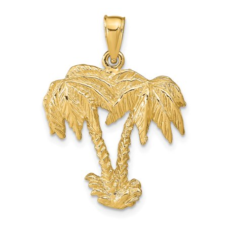 14k Yellow Gold Double Palm Trees Polished Charm Pendant 31mmx22mm