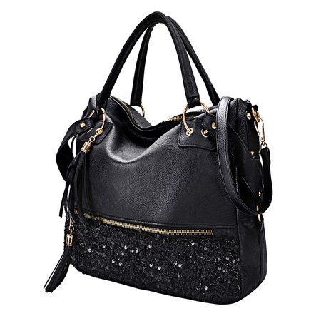 Satchel Style Shoulder Bag - Womens Handbags, Fashion Punk Style Shining Sequin Faux Leather Tote Bag Hobo Bag for Girls Women Ladies (Black)