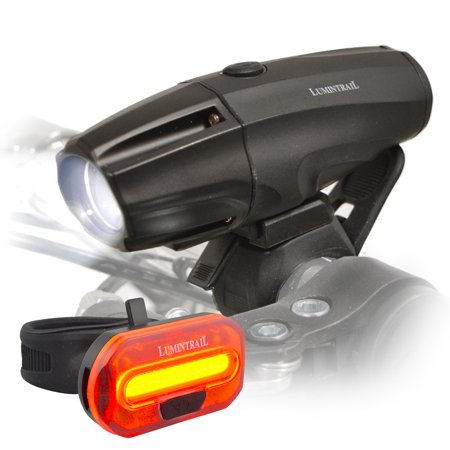 Lumintrail Super Bright Bike Light USB Reable 1000 Lumen LED Safety Commuter Headlight Taillight Set Easy Install and Quick Release
