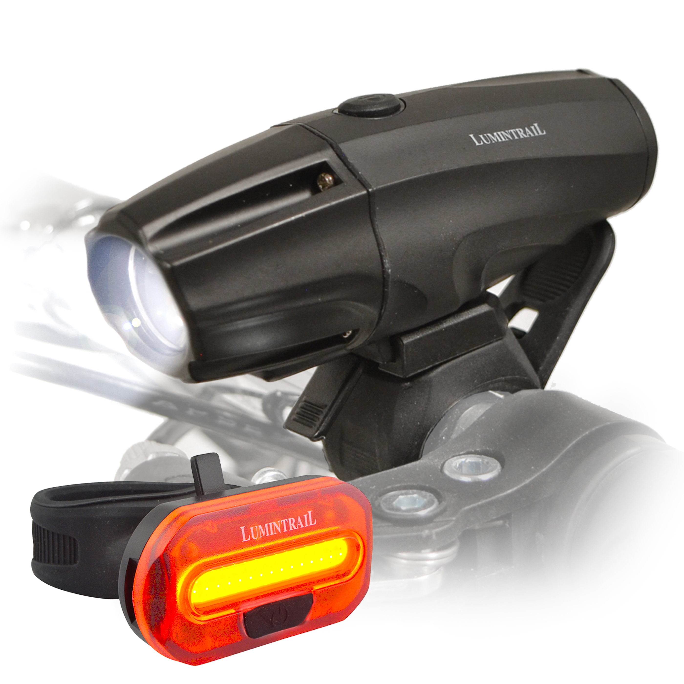 Lumintrail Super Bright Bike Light USB Rechargeable 1000 Lumen LED Safety Commuter Headlight Taillight Set Easy Install and Quick Release