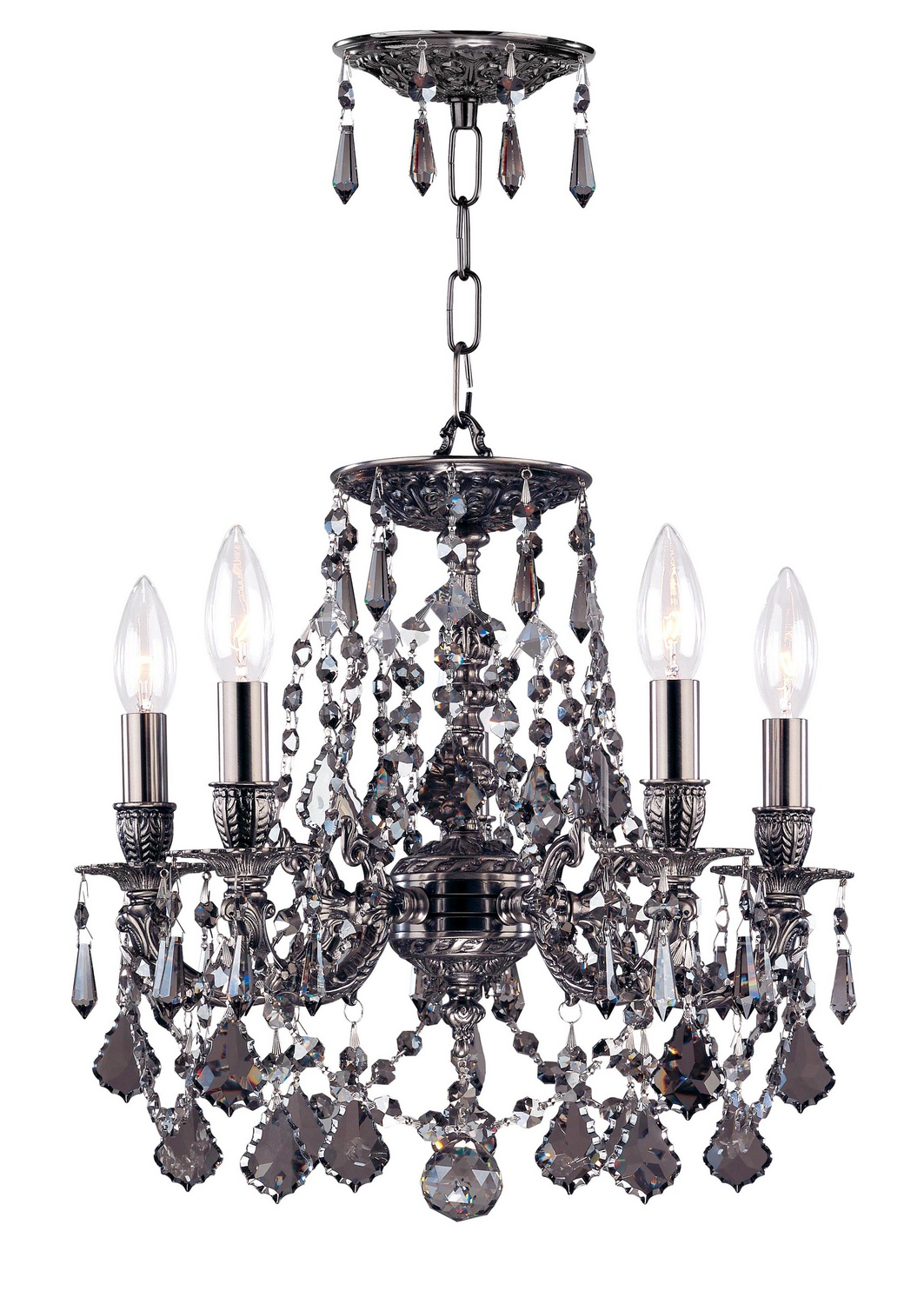 Crystorama 5545-PW-SS-MWP Five Light Mini Chandelier by Crystorama