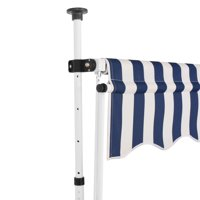 "HERCHR Manual Retractable Awning 78.7"" Blue and White Stripes"