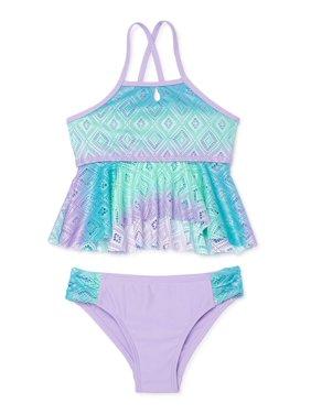 XOXO Girls Tie Dye Crochet Tankini Swimsuit, Sizes 4-16