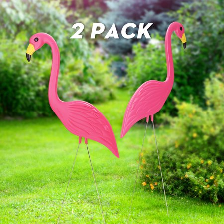 Pink Flamingo Yard Stakes (Set of 2 Plastic Pink Flamingo Figurines Yard Decorations Lawn Stakes (35)