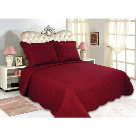 All for You 3pc Reversible Quilt Set, Bedspread, or Coverlet-Highly recommend measuring bed, size may run small-5 different sizes-Burgundy color ( full/queen 86