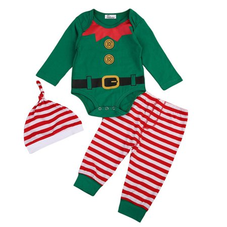 Unisex Babys Christmas Elf Outfits Long Sleeve Romper Jumpsuit+Stripes Pant And Hat 18-24 Months](Next Elf Outfit)
