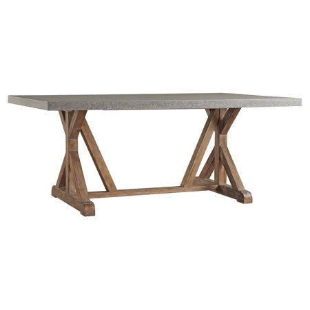 Weston Home Rectangular Concrete Top Dining Table Brown And