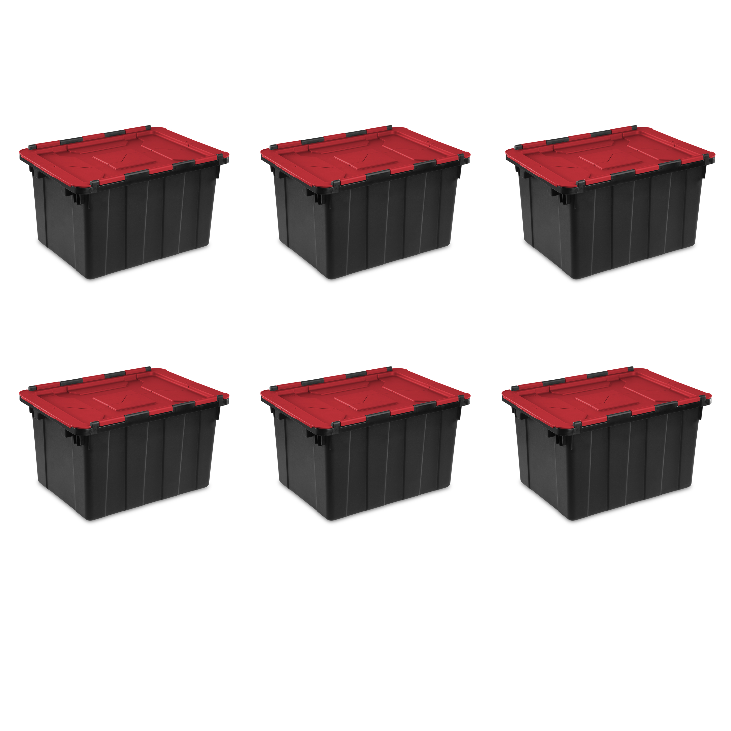 Sterilite, 12 Gal./45 L Hinged Lid Industrial Tote, Case of 6