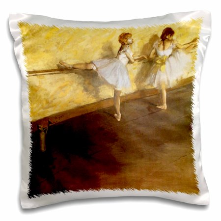 Degas Ballerina Paintings - 3dRose Image of Degas Painting Of Two Ballerinas Practicing - Pillow Case, 16 by 16-inch