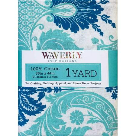 Damask Duralee Fabrics (Waverly Inspirations Pre-Cut 100% Cotton Damask Aqua Fabric, per Yard )