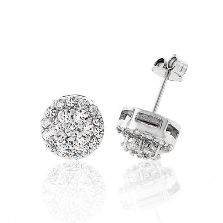 Cubic Zirconia Cluster Earrings - .925 Sterling Silver Womens 9mm Flower Halo Cubic Zirconia Iced Out Cluster Stud Earrings