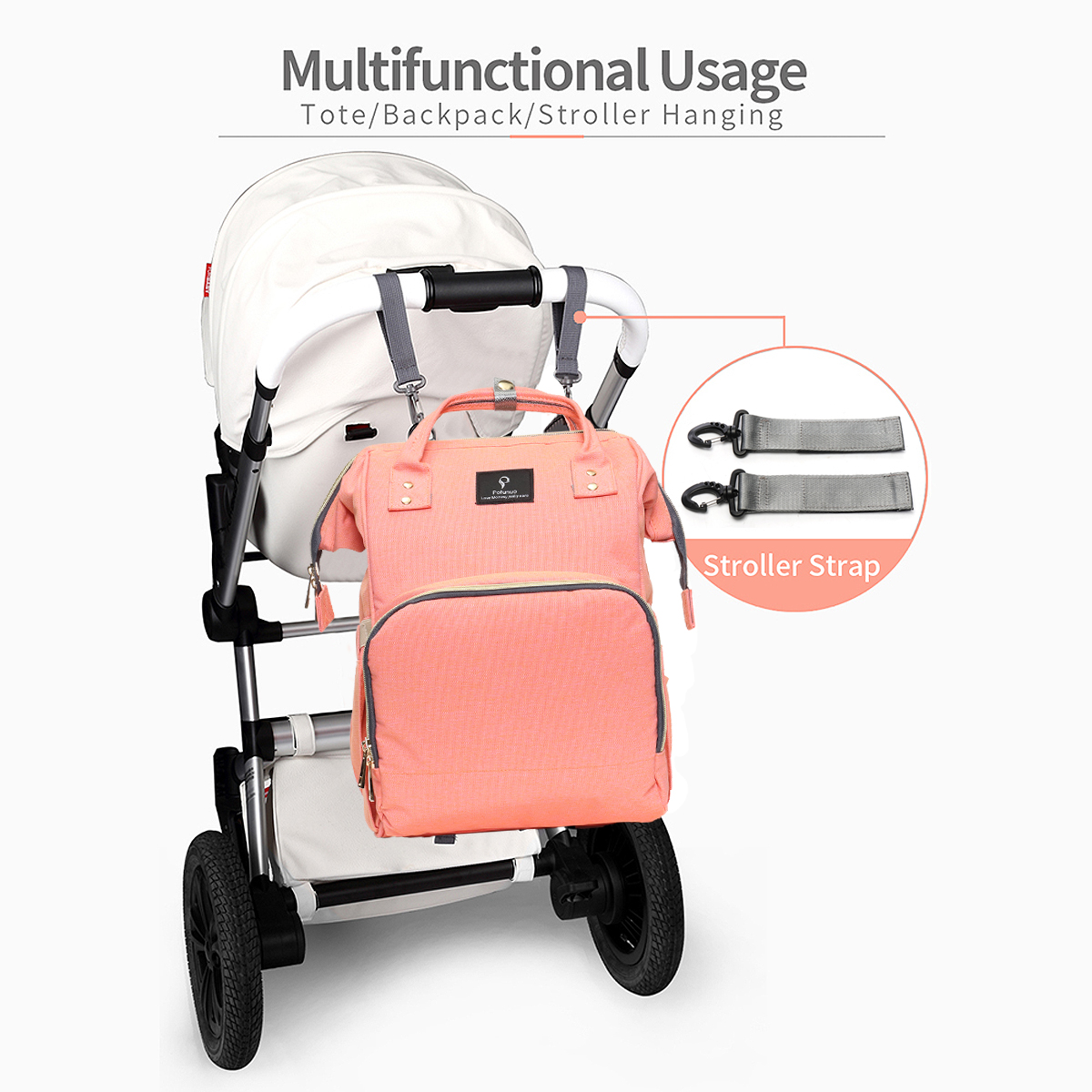 Large Capacity  Backpack Diaper Bag with USB Interface Baby Diaper Nappy Multifunctional Oxford Backpack Waterproof for Baby Care