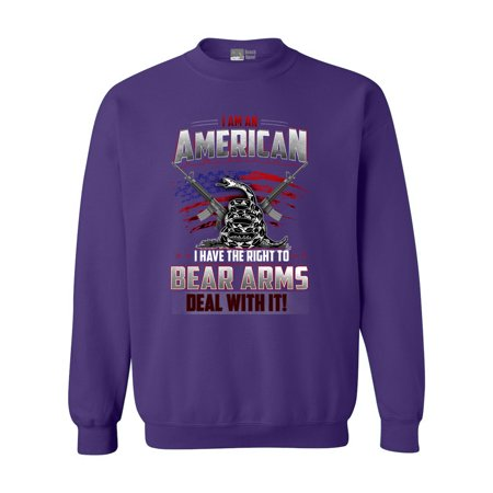 I Am An American I Have The Right To Bear Arms Deal With It DT Crewneck Sweatshirt Royal Estate Green