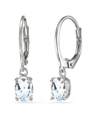 be73f2edf Product Image Aquamarine Sterling Silver 7mm x 5mm Oval Dangle Leverback  Earrings