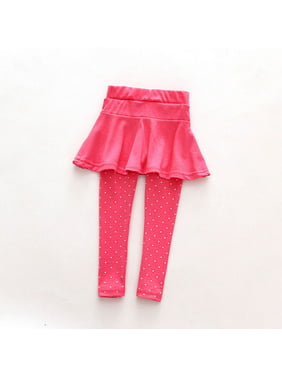 Kids Baby Girls Casual Warm Dot Culottes Tight Leggings Tutu Skirt Pants